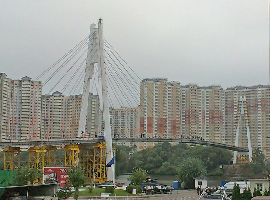 Пешеходный мост в Павшинской пойме
