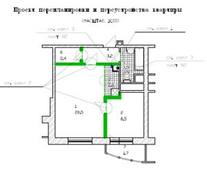 Проект перепланировки однокомнатной квартиры ЖК Спасский мост