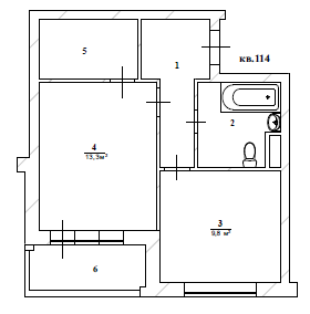 Проект перепланировки однокомнатной квартиры в жк Западный остров
