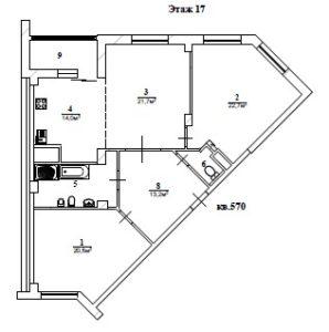Проект перепланировки 3 комнатной квартиры Изумрудные холмы